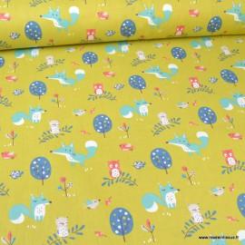 Tissu coton Choubois motifs Renards, hiboux et oiseaux fond mousse - Oeko tex