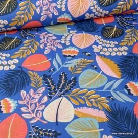Tissu coton Kohpical imprimé feuilles et fleurs fond bleu - Oeko tex