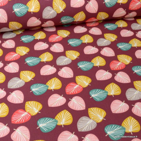 Tissu coton Cories imprimé feuilles moutarde, corail et nil fond Prune - Oeko tex