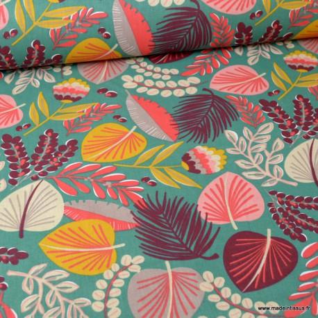 Tissu coton Kohpical imprimé feuilles et fleurs fond Vert - Oeko tex
