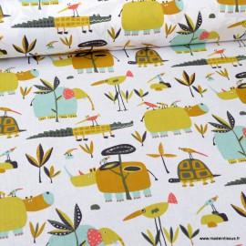Tissu oeko tex coton Folzo motifs hippo et crocodiles fond blanc