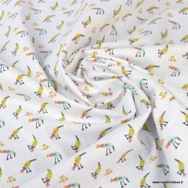 Tissu oeko tex coton Kezakoi motifs oiseaux fond blanc