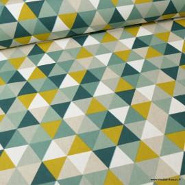 Tissu toile aspect lin motifs géométriques vert - Oeko tex