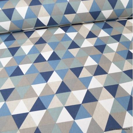 Tissu toile aspect lin motifs géométriques bleu - Oeko tex
