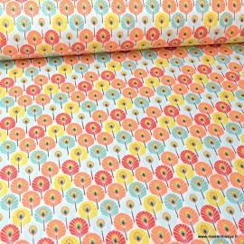 Tissu coton imprimé Mini plumes de Paon Corail