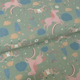 Tissu jersey Oeko tex motifs Licornes et chateaux fond Vert - Oeko tex