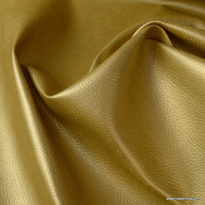Tissu Simili cuir ameublement rigide Or