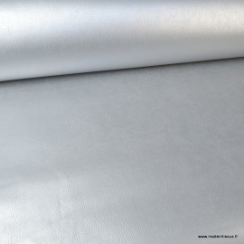 Tissu Simili cuir ameublement rigide Argent