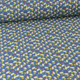 Tissu coton motif Graines fond bleu Konogo - Oeko tex