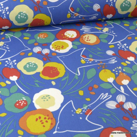 Tissu coton motif oiseaux et fleurs Kibird fond bleu - Oeko tex