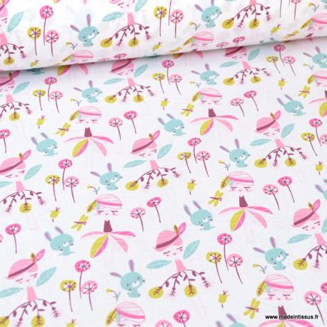 Tissu oeko tex en coton motifs Fée et lapins rose et menthe - Jaelle