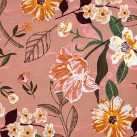 Tissu coton RICO design à grosses fleurs fond Mauve