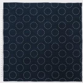 1 coupon de 40 cm de Tissu Sashiko en coton RICO design motifs cercles