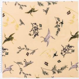 Tissu coton RICO design motifs grues or fond beige
