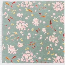 Tissu coton RICO design motifs carpes kois Or fond vert