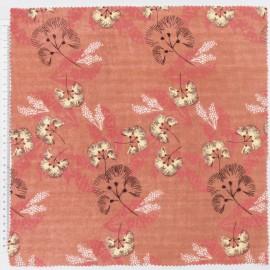 Tissu double gaze de coton RICO design motifs fleurs fond rouille
