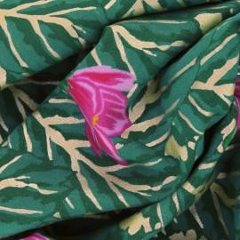 Tissu double gaze de coton RICO design motifs fleurs MAGNOLIA or fond vert
