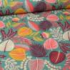 Tissu coton Enduit Kohpical motifs fleurs fond vert -  Oeko tex