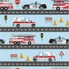 Tissu jersey motifs véhicules pompiers, police et ambulances fond bleu - Oeko tex