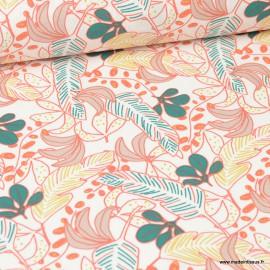 Tissu coton Poyo imprimé feuilles corail et vert - Oeko tex