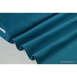 Tissu velours ras coton bleu pétrole pour confection pantalon .x1m