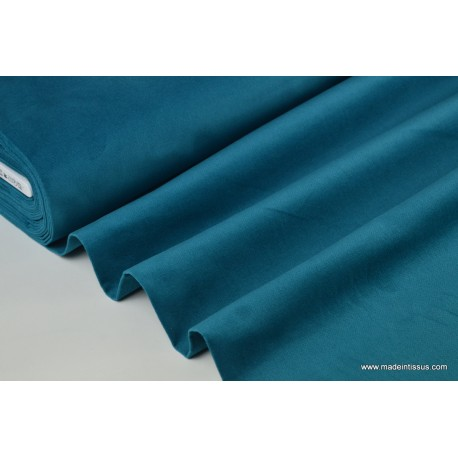 tissu velours ras coton bleu p trole pour confection pantalon x1m made in tissus. Black Bedroom Furniture Sets. Home Design Ideas