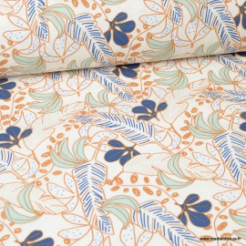 Tissu coton Poyo imprimé feuilles céladon et bleu - Oeko tex