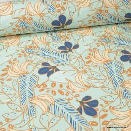Tissu coton Guzalor imprimé feuilles Céladon et Or - Oeko tex