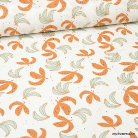 Tissu coton Guzor imprimé feuilles Céladon et Or- Oeko tex