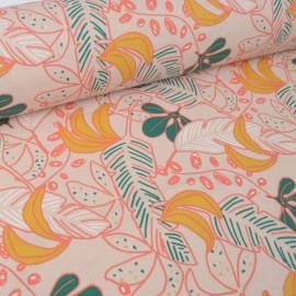Tissu coton Guzalor imprimé feuilles Beige et Or - Oeko tex