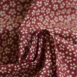 Tissu coton imprimé petites fleurs fond Grenat - Oeko tex