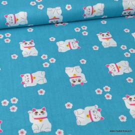 Tissu Cretonne coton imprimé fleurs et chats portes-bonheur Maneki-neko fond turquoise