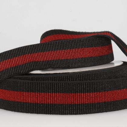 Elastique stripe Lurex à rayures Noir et Rouge 40mm - au mètre