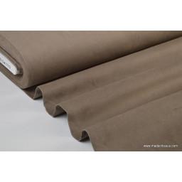 Tissu velours ras coton gris taupe pour confection pantalon x50cm