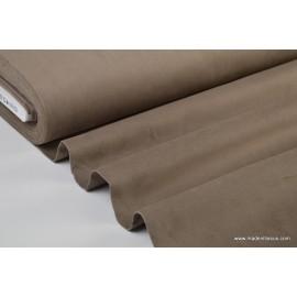 Tissu velours ras coton gris taupe pour confection pantalon .x1m