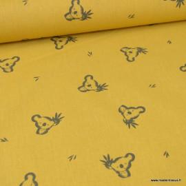 Tissu oeko tex coton Luan motifs Koala fond Moutarde et charbon