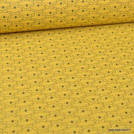 Tissu oeko tex coton Mikoa motifs Koalas fond Moutarde et charbon