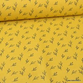 Tissu oeko tex coton Zifir motifs feuilles eucalyptus Moutarde et charbon