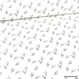Tissu oeko tex coton Zifir motifs feuilles eucalyptus Blanc cassé et charbon