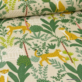 Tissu toile aspect lin motifs Jungle - Oeko tex