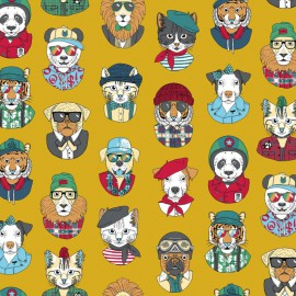 Tissu coton imprimé Personality Chats masqués fond Curry - Oeko tex