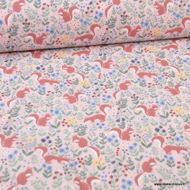 Tissu coton imprimé Ecureuils fond Rose - Oeko tex