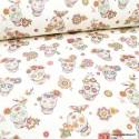 Tissu Simili cuir rigide motif tête de mort Calavera fond Blanc
