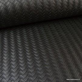 Tissu simili cuir Panier tressé Noir .x1m