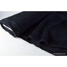 Tissu velours cotelé elasthanne petite côte noir . x1m