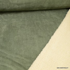 Tissu Velours grosse côtes Vert Kaki envers Sherpa