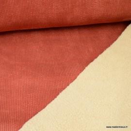 Tissu Velours grosse côtes Terracotta envers Sherpa