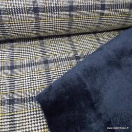 Tissu lainage facon Prince de Galle Marine envers doudou