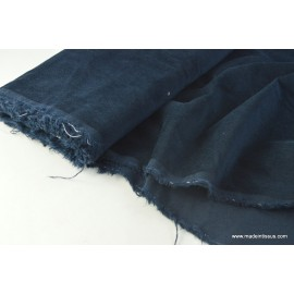 Tissu velours cotelé elasthanne petite côte marine . x1m