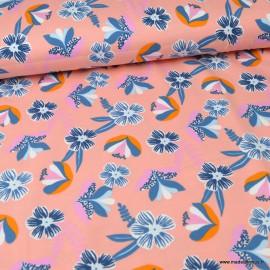 Tissu jersey BIO motifs fleurs fond rose - GOTS